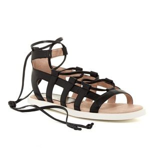 Kidskin Leather Gladiator Ankle Wrap Sandals